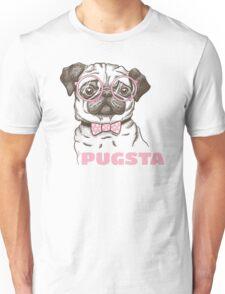 Pugsta - Hipster Pug Girl Puppy Dog Bow Tie & Glasses Unisex T-Shirt