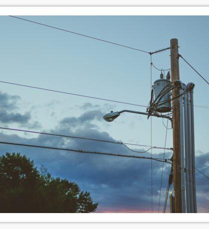 Telephone Pole Sunset Photograph Sticker