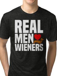 Real Men Love Wiener - Heart Dachshund Puppy Dog Tri-blend T-Shirt