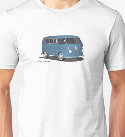 VW Bus T2 Transporter Blue for White Bkgr Hippie Van Unisex T-Shirt