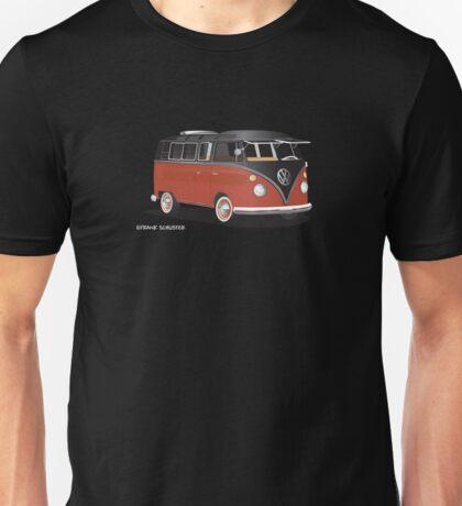 VW Bus T2 Samba Red Blk for Blk Bkgr Hippie Van Unisex T-Shirt