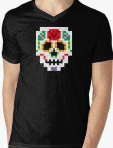 8-Bit Sugar Skull Mens V-Neck T-Shirt