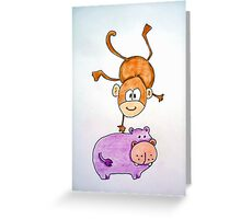 Acrobat animals: Monkey jumping on a hippo Greeting Card