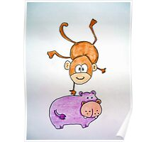 Acrobat animals: Monkey jumping on a hippo Poster