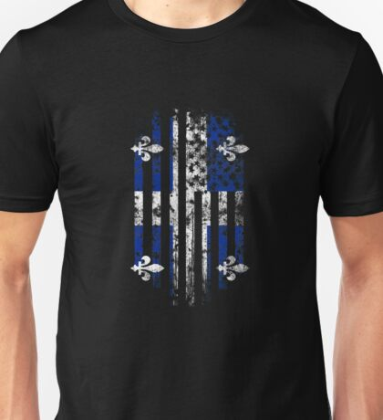 Quebec and America Flag Combo Distressed Design Unisex T-Shirt