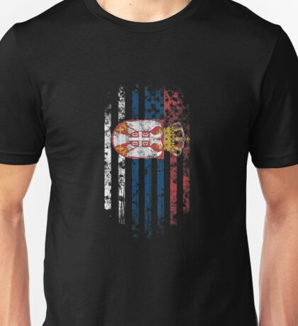 Serbia and America Flag Combo Distressed Design Unisex T-Shirt