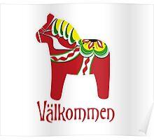 Dala Horse Välkommen Poster