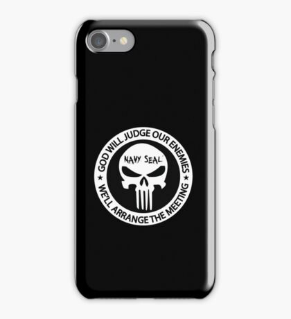 god will judge our enemies we'll arrange the meeting - white iPhone Case/Skin
