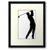 Pro Golfer Swinging Silhouette Framed Print