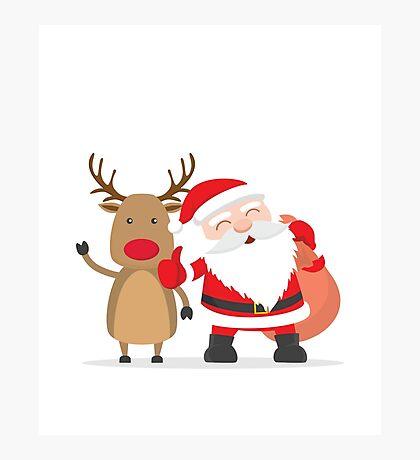 Merry Chrismas Oldman Reindeer Ugly Sweater Xmas  Photographic Print