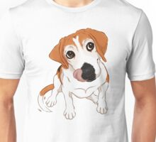 Hungry Beagle Dog - Blue Background / hound dog food foodie treats cute begging dog art artwork Unisex T-Shirt