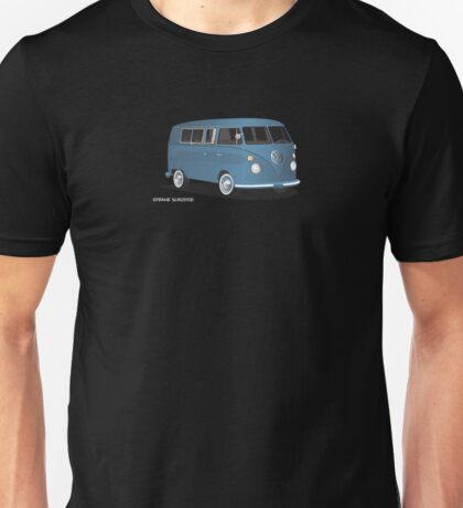 VW Bus T2 Transporter Blue Hippie Van Unisex T-Shirt