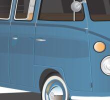 VW Bus T2 Transporter Blue Hippie Van Sticker
