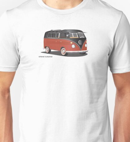 VW Bus T2 Samba Red Blk for White Bkgr Hippie Van Unisex T-Shirt