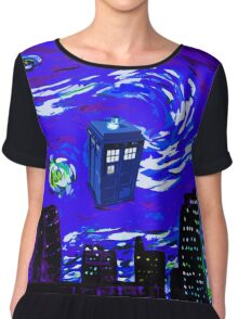 tardis between the sky and the city Chiffon Top
