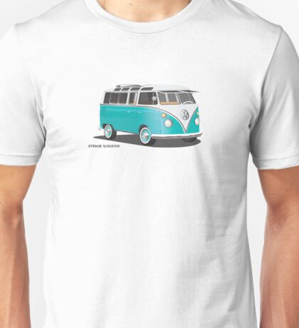 VW Bus T2 Teal Blk VW Hippie Van Unisex T-Shirt