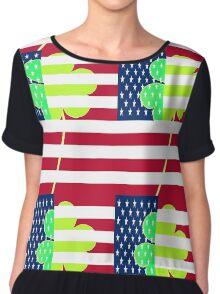 Funny St. Patrick Irish Shamrock American Flag Chiffon Top
