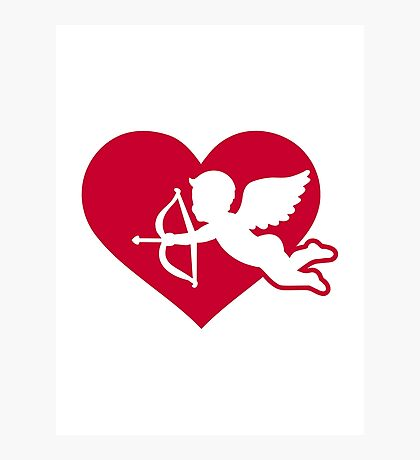 Red heart angel cupid Photographic Print