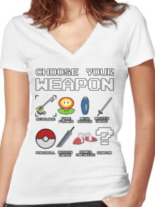 CHOOSE YOUR WEAPON Women's Fitted V-Neck T-Shirt