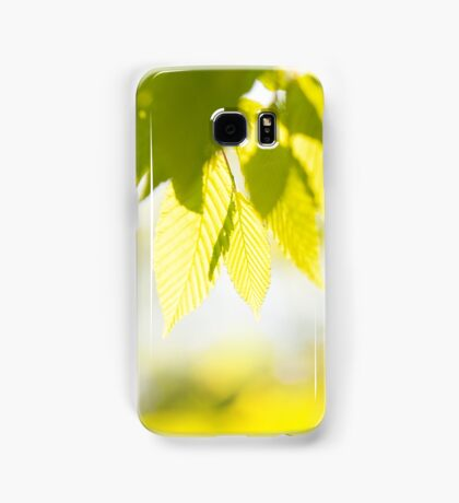 Young Elm leaves on blurred green  Samsung Galaxy Case/Skin