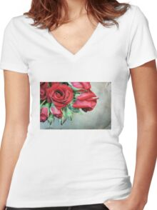 Romantic Red Roses Women's Fitted V-Neck T-Shirt
