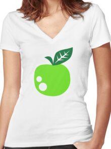 Green apple Women's Fitted V-Neck T-Shirt