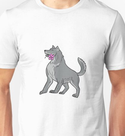 Timber Wolf Holding Plumeria Flower Drawing Unisex T-Shirt