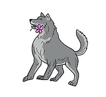 Timber Wolf Holding Plumeria Flower Drawing Photographic Print