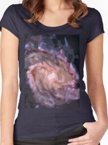 Galaxy Print Women's Fitted Scoop T-Shirt