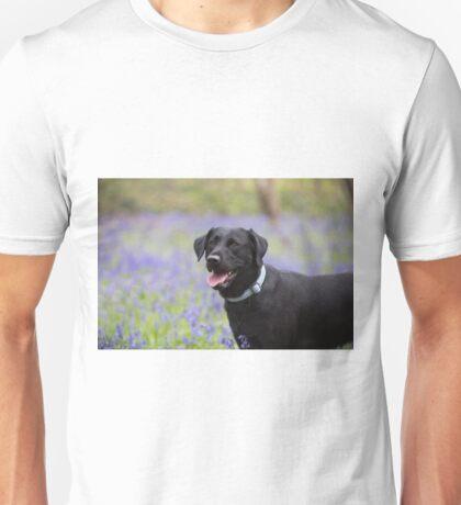 black lab in bluebells Unisex T-Shirt