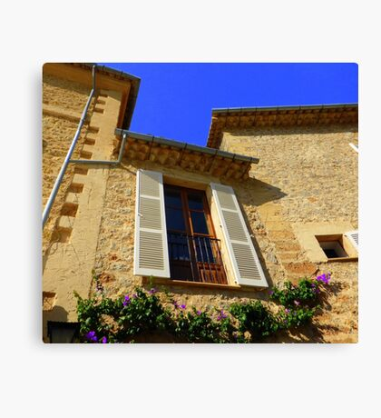 Cream Shutters And Blue Skies Canvas Print