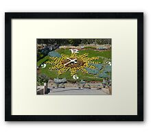 A flower garden clock that actually works... Framed Print