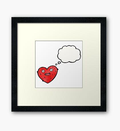 gross heart cartoon character Framed Print