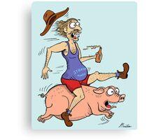 Man Riding Pig Canvas Print