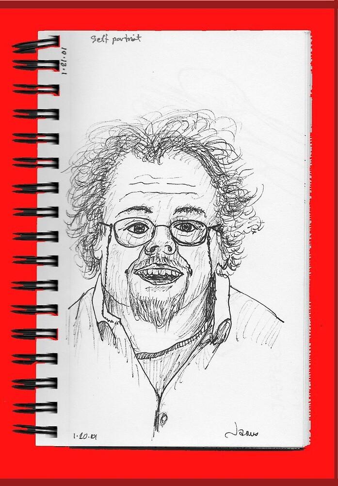 fast sketch self portrait by James Lewis Hamilton