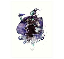 Maleficent inkblot by Mary Doodles Art Print