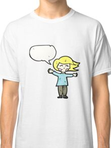 happy blond woman with speech bubble Classic T-Shirt