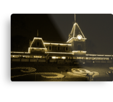 Disneyland Train Station at Night Metal Print
