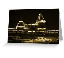 Disneyland Train Station at Night Greeting Card