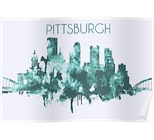 Pittsburgh Skyline Poster, Wall Decor, Artistic Modern City Print Decoration in Blue Poster