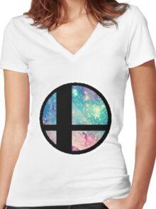Galactic Smash Bros. Final destination Women's Fitted V-Neck T-Shirt
