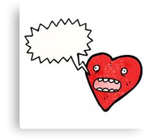 talking love heart cartoon Canvas Print