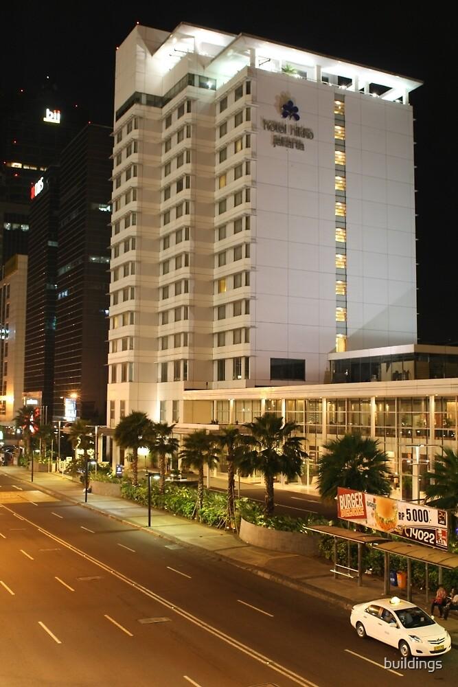 Hotel Nikko Jakarta (by night) by buildings