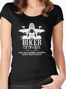 Biker Grandpa Funny Black Men's Tshirt Women's Fitted Scoop T-Shirt