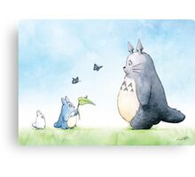 Totoro with Butterflies  Canvas Print