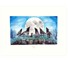 A Cat Raised by Wolves - by Mary Doodles Art Print