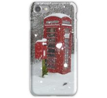 Red Telephone Box. Winter. England. iPhone Case/Skin