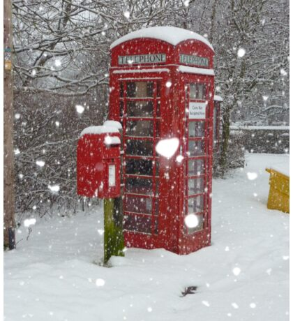Red Telephone Box. Winter. England. Sticker