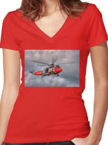 Royal Navy Search and Rescue Sea King Helicopter Women's Fitted V-Neck T-Shirt