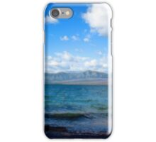 Digital art painting style landscape picture. Lake, mountain, blue sky and white clouds. iPhone Case/Skin